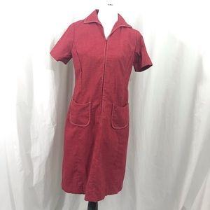 Vintage 60s Dyanne Red Shift Day Dress L
